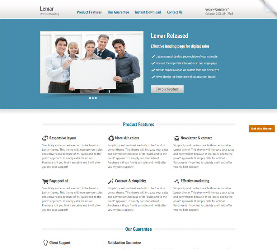 Lemar free template by wowthemesnet for Free landing page templates for wordpress