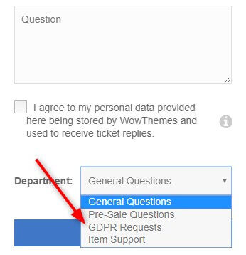 contact form GDPR requests