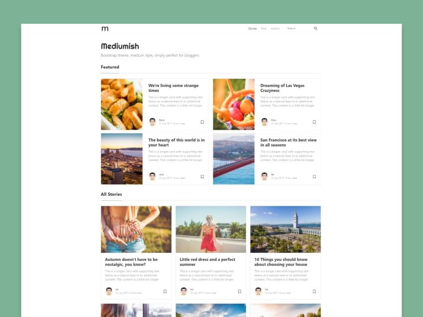 Mediumish - Free Bootstrap 4.0 HTML Template Medium Styled