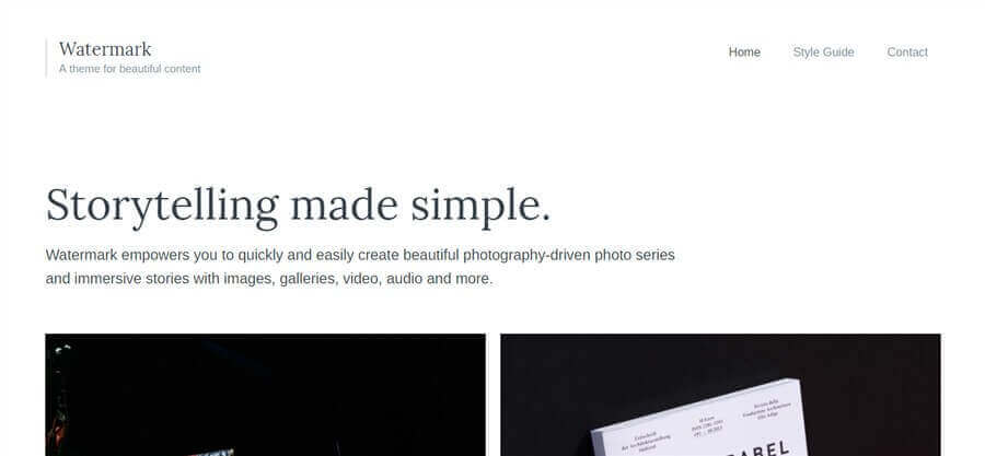 watermark wordpress theme like medium