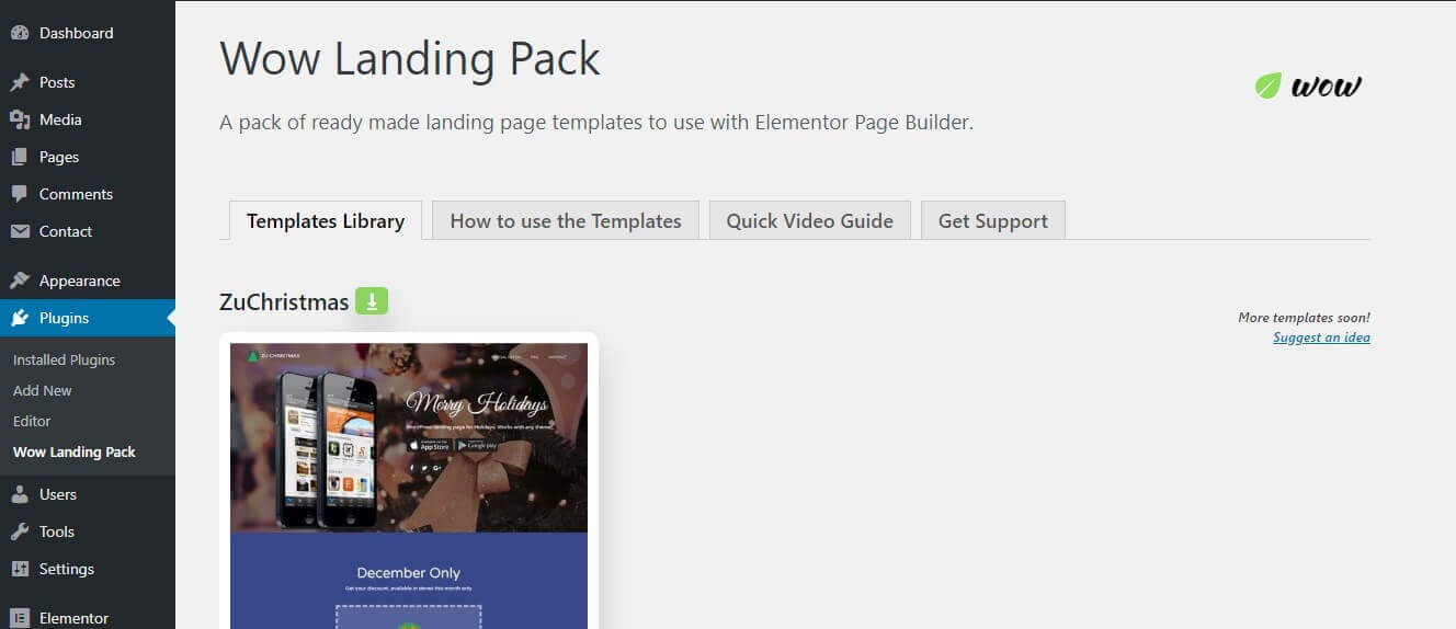 wow landing pack wordpress plugin release