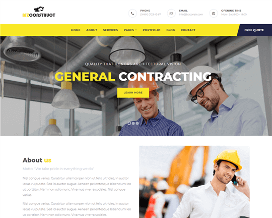 BizConstruct - Gutenberg WordPress Theme