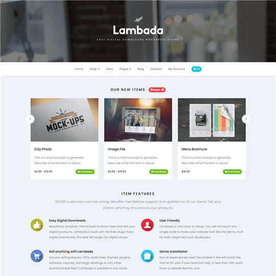 Lambada Easy Digital Downloads WordPress Theme