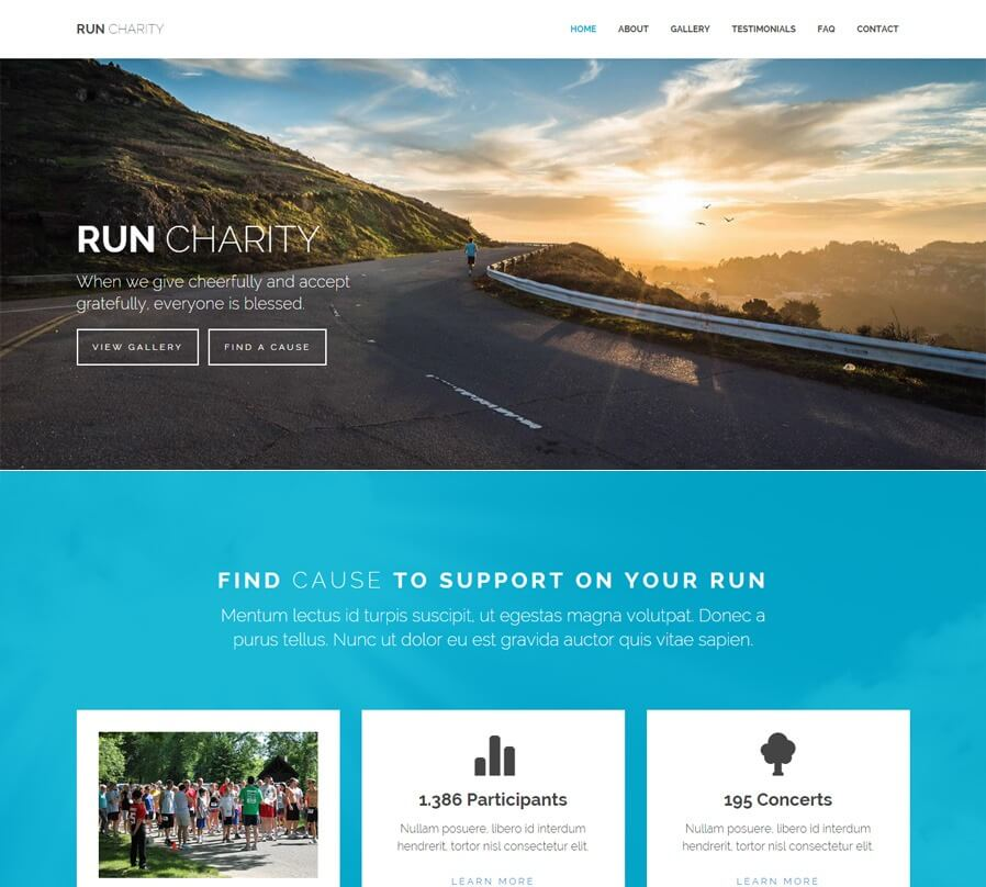Run Charity Lite - Free One Page HTML Bootstrap Template